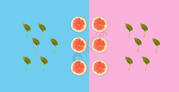 创意西柚切片色彩背景图片