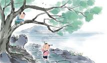 夏天爬树的的小孩图片