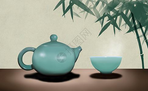 茶与竹图片
