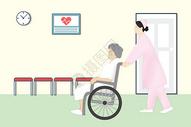 推着轮椅上老人的护士图片
