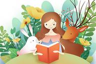 花丛里阅读的少女和动物图片
