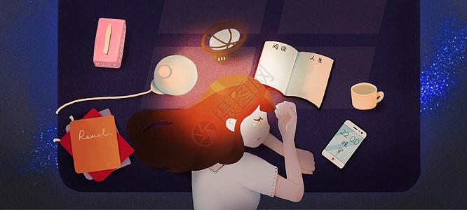 在阅读中睡着的女孩图片