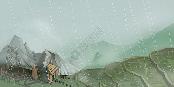 山中谷雨图片