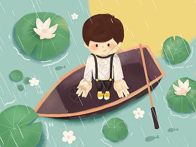 谷雨乘船的男孩和荷花图片