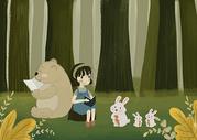 森林里看书的小女孩图片