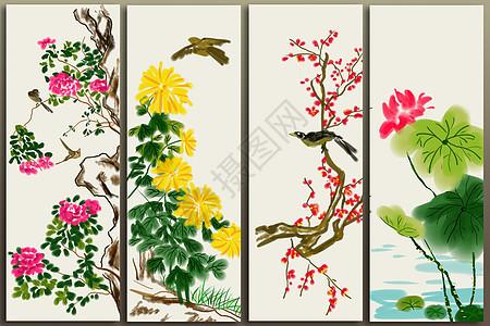 花鸟条屏图片