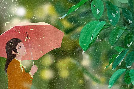 女孩雨天撑伞图片