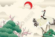 静谧古风丹顶鹤图片