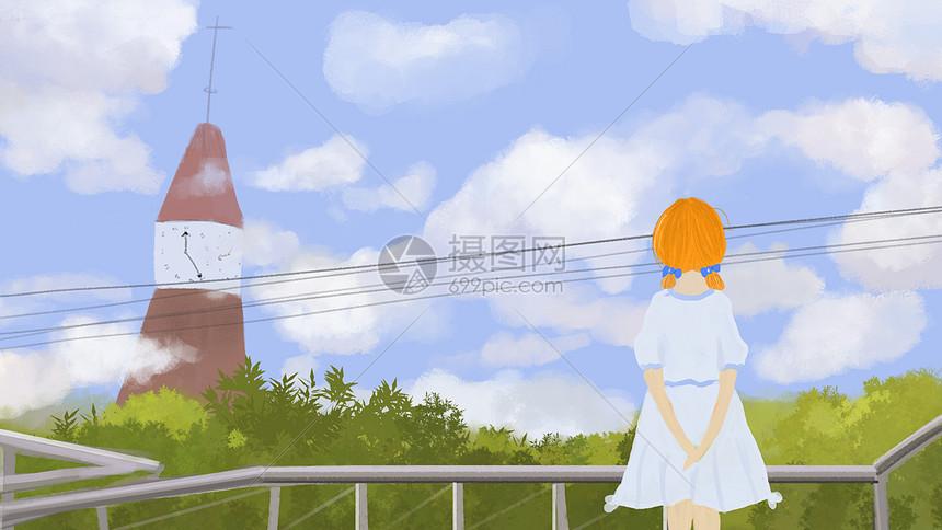 钟塔·桥·女孩图片