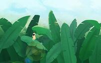 立夏节到了绿色植物手绘背景图片