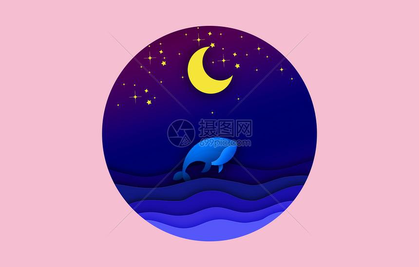 剪纸风大海蓝鲸图片