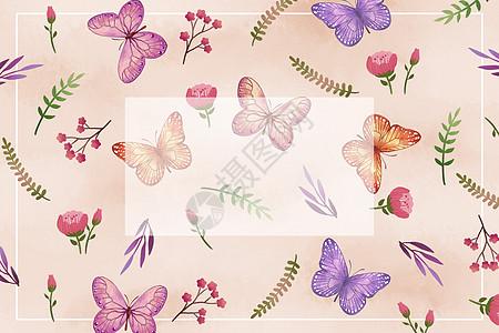 紫色花卉蝴蝶背景图片