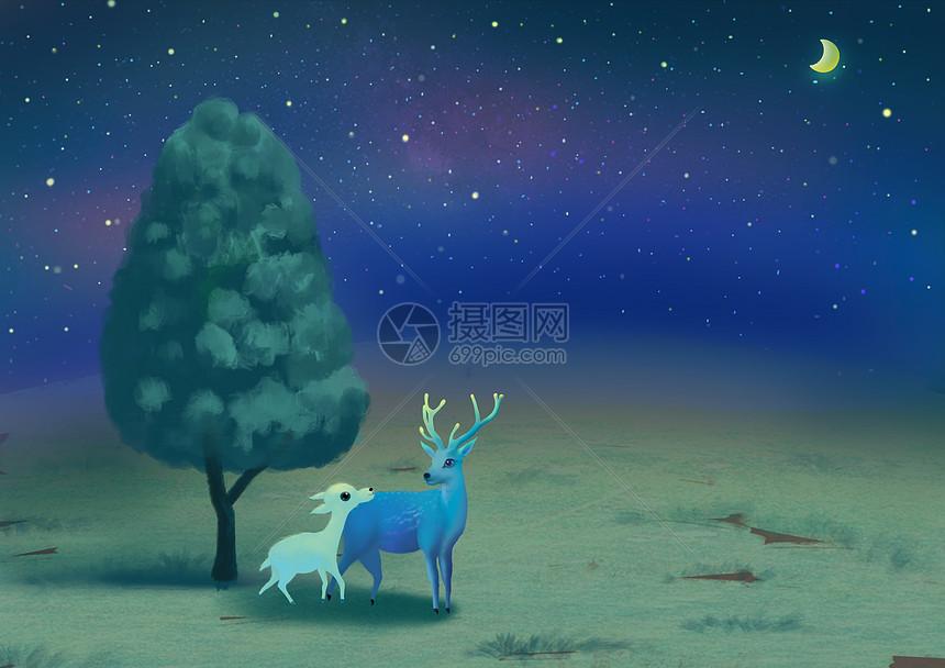 小鹿与树  草原 小鹿 星空 草地  母子图片