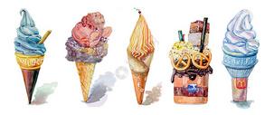 手绘水彩之冰淇淋系列图片