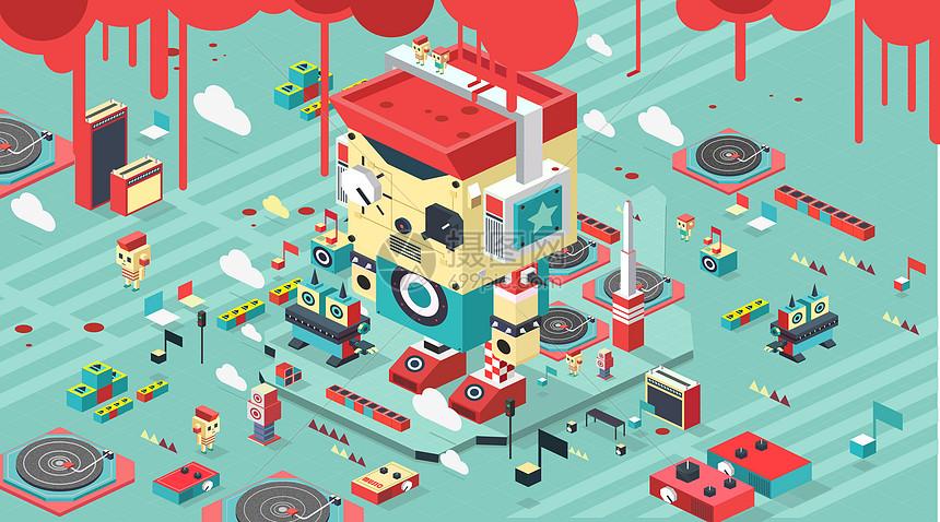 2.5D等距插画风格音乐机器人卡通插画图片