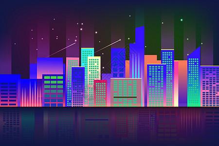 城市炫彩夜景高清图片