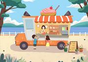 冰淇淋车 夏天小朋友买冰淇淋图片
