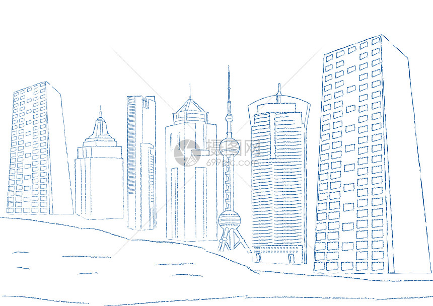 手绘上海建筑图片