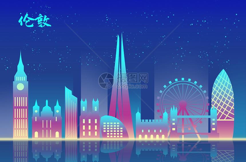 伦敦扁平地标都市图片