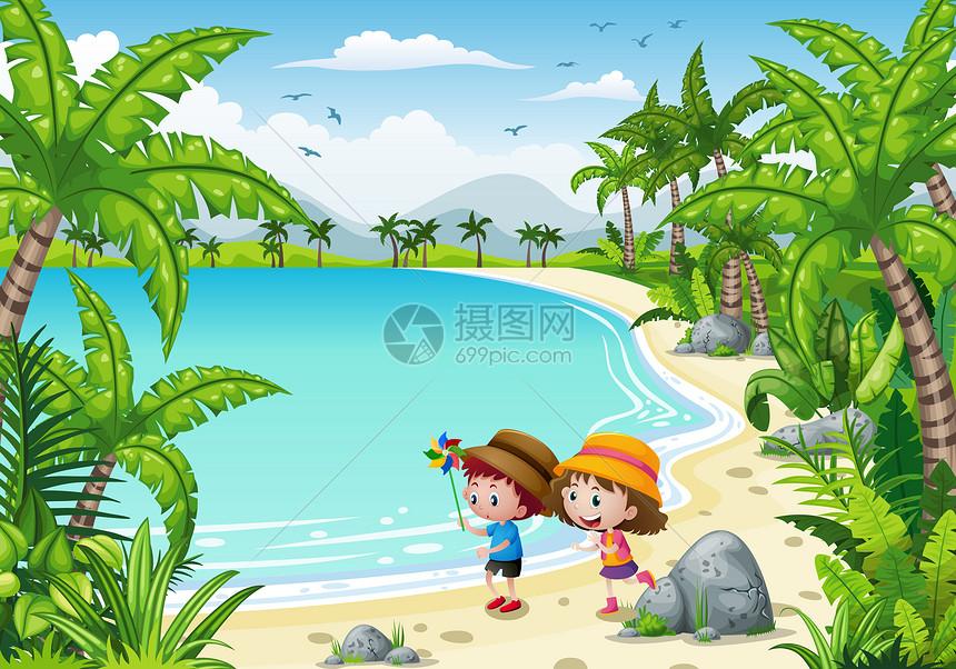 春季海滩童趣插画图片