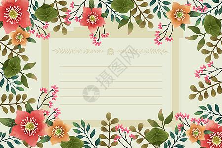 荷花荷叶植被边框背景图片
