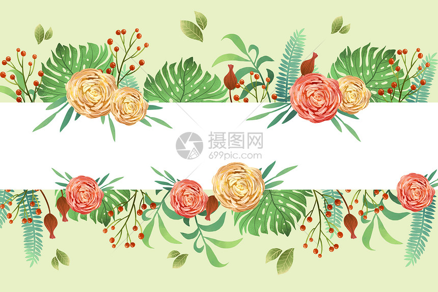 小清新横版玫瑰花元素边框背景图片