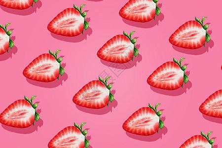 粉色少女心草莓创意背景图片