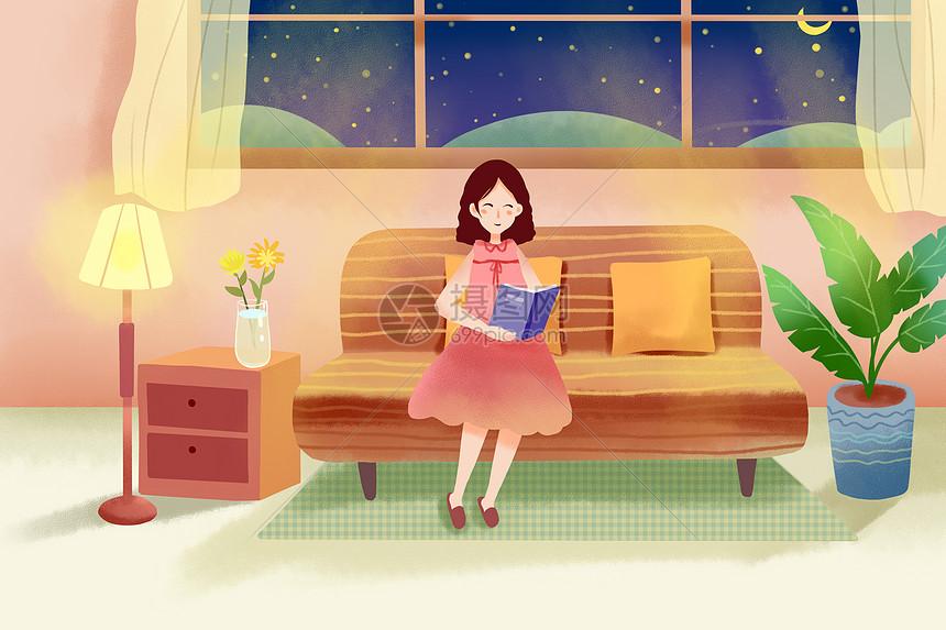 女孩室内看书图片