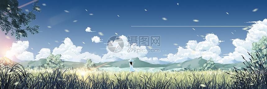 清新风景插画图片