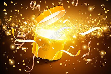 金色礼盒场景图片