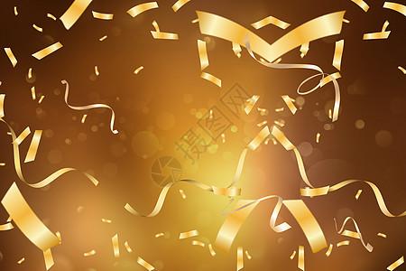 金色丝带背景图片