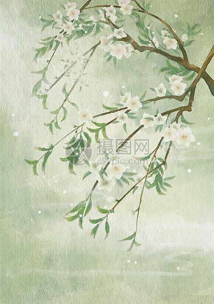 古风仿手绘水彩花枝图片