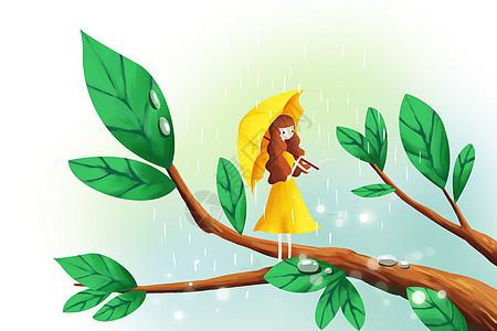 雨天中的小女孩图片
