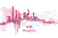 香港水彩插画图片