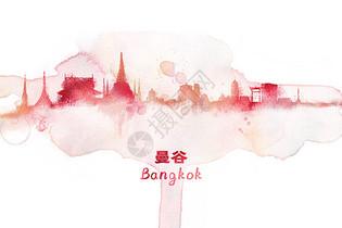 曼谷水彩插画图片
