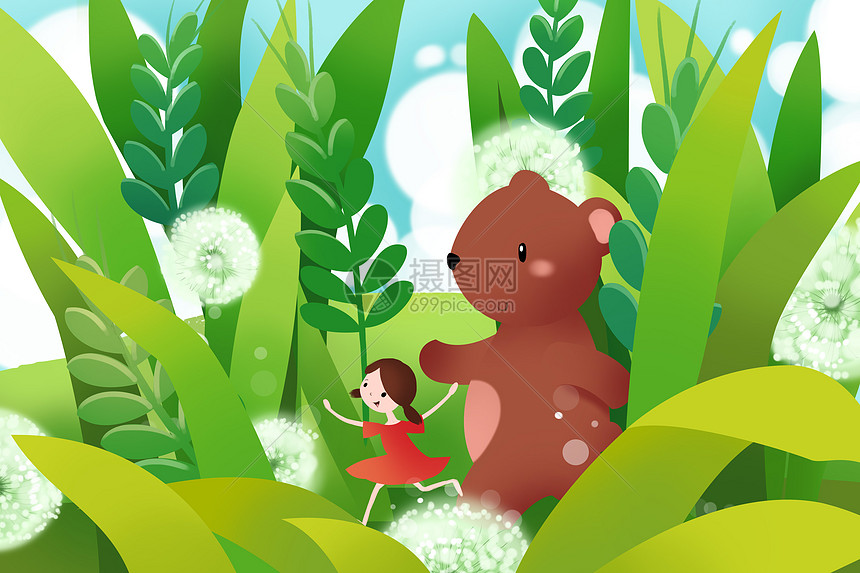 草丛间的小女孩与熊图片