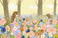 花丛中的少女图片