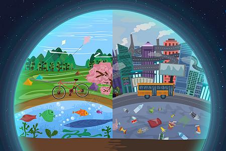 地球日环境环保插画图片