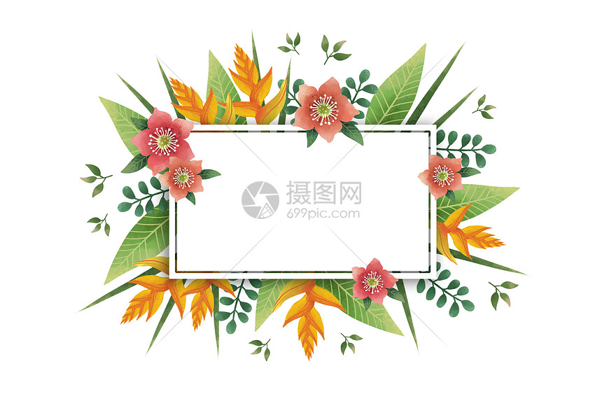 小清新花卉植物装饰框图片
