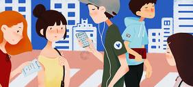 城市里来来往往的行人图片