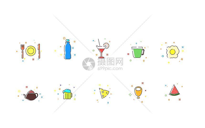 MBE风格饮食图标图片