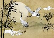 中国风仙鹤竹子写意国画图片