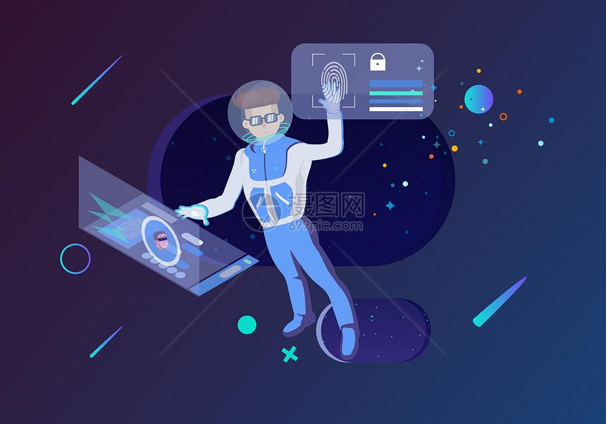 互联网科技遨游太空图片
