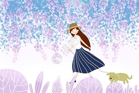 花丛间的小女孩图片