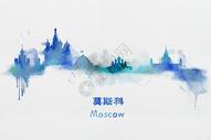 莫斯科水彩插画图片