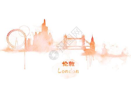 伦敦水彩插画图片