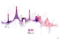 巴黎水彩插画图片