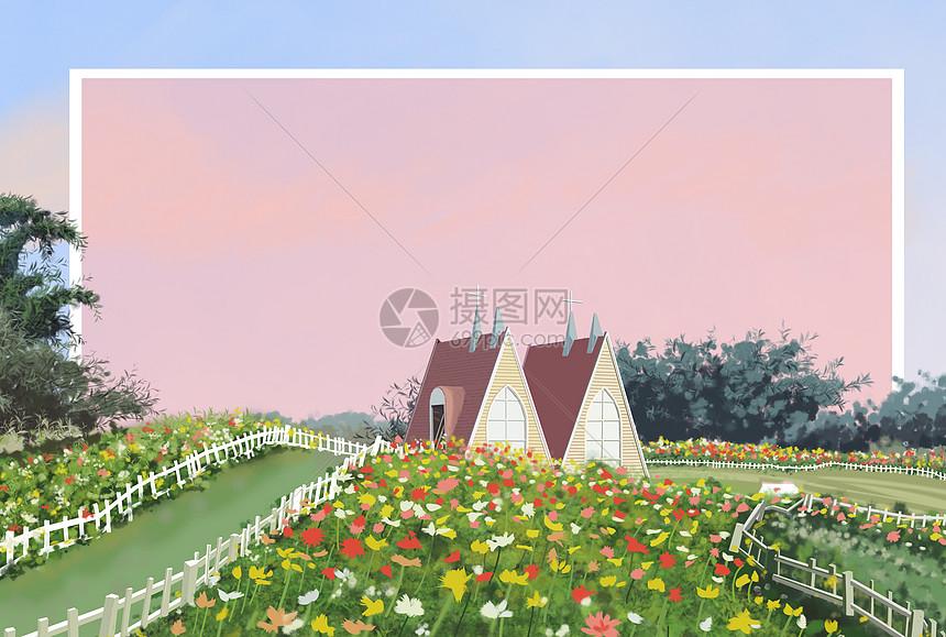 粉色天空的花海背景图片