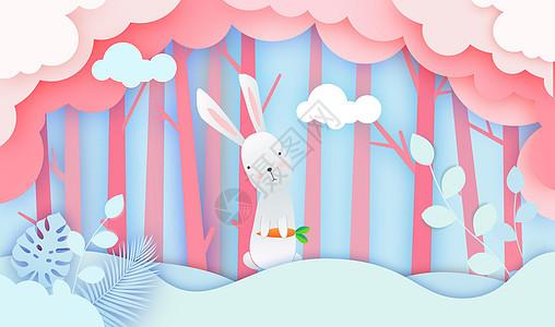 剪纸小兔子图片