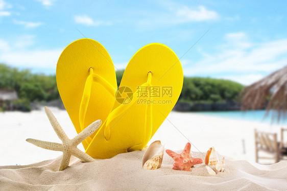 清凉沙滩背景图片